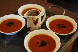 Yummy homemade soup lunch on More Balanced Living Retreats, Bath